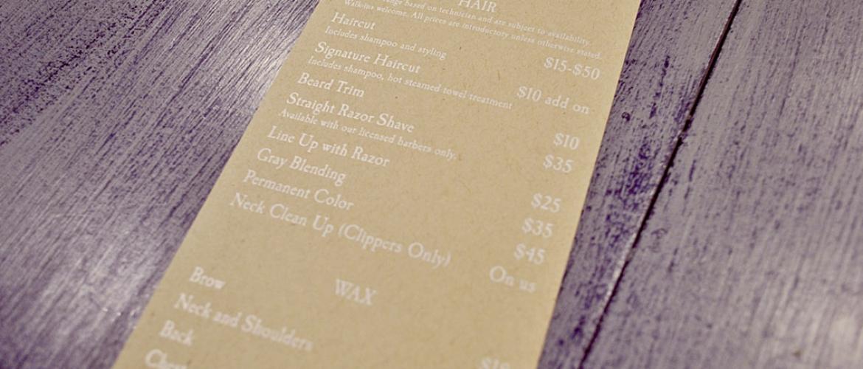 menu for White Buffalo Barber Shop